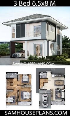 Tiny House Plans 639933428288594564 - House Plans Idea with 3 bedrooms – Sam House Plans Source by Model House Plan, Dream House Plans, Small House Plans, House Floor Plans, Two Story House Design, Modern Small House Design, 2 Storey House Design, One Storey House, House Construction Plan