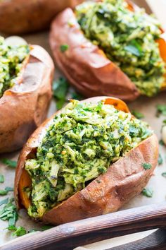 These chicken pesto stuffed sweet potatoes are seriously tasty, filling and easy to make! A paleo and compliant pesto is mixed with shredded chicken and tops perfectly baked sweet potatoes. make ahead paleo lunch Paleo Recipes, Real Food Recipes, Cooking Recipes, Lunch Recipes, Cleanse Recipes, Paleo Whole 30, Whole 30 Recipes, Paleo Sweet Potato, Snacks