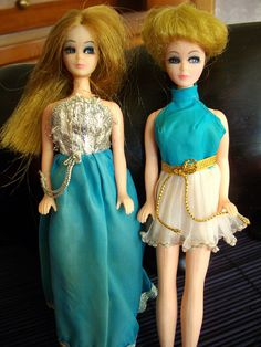 Dawn dolls and Ron dolls by Topper. Shorter version of Barbie and Ken. such fun. I still have mine and both dresses shown here too. 70s Fashion, Fashion Dolls, Vintage Fashion, Sewing Projects For Kids, Sewing For Kids, Vintage Barbie, Vintage Dolls, Vintage Items, Childhood Toys