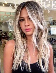 Dark Roots Blonde Hair Balayage, Grey Balayage, Blonde Hair With Roots, Blond Ombre, Blonde Hair Looks, Hair Color Balayage, Blonde Hair On Brunettes, Blonde Hair With Dark Eyebrows, Blonde Hair With Dark Highlights