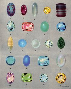1968 Gemstones - when I was a little girl I used to pour over these illustrations of gemstones, I found the colours so hypnotic and beautiful.