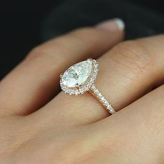 GIA Certified 2.00 Ct Flawless Pear Cut Diamond Engagement Ring 18K Rose Gold