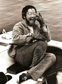 Richard Dreyfuss having a laugh on the set of Jaws