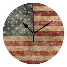 HangWang Wall Clock Old US Flag Silent Non Ticking Decorative Round Digital Clocks for Home/Office/School Clock The Rustic Clock