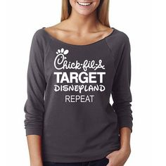 "Women's Disney Shirt ""Chick-fil-a, Target, Disneyland, Repeat"" Family Vacation Shirt // Women's Disney // Disney Gifts // Disneyland Shirt"