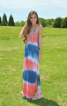 Sleeveless navy, coral & white tie-dyed maxi dress -- with multi-color Aztec embroidery accenting the front neckline of the maxi dress, & super cute navy lace-up sides {with tassels.} - Racer-back-sty