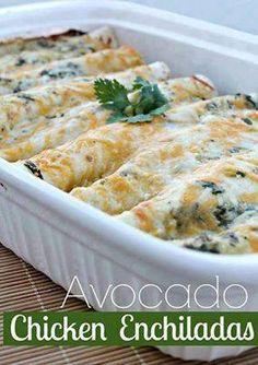Avocado Chicken Enchiladas  (¯`•.•´¯)¸•´¯☆[̲̅L][̲̅i̲̅][̲̅k̲̅][̲̅e̲̅] +[̲̅S][̲̅h̲̅][̲̅a̲̅][̲̅r̲̅][̲̅e̲̅] .`•.¸¸.•´♥ SHARE so you can find it on your timeline♥  Ingredients for the Enchilada Sauce 1 tablespoon butter 3 garlic cloves, minced 1 tbsp flour 1 cup chicken stock - (you could use vegetable stock) 2 teaspoons of cumin 1/4 teaspoon salt 1/4 teaspoon fresh ground pepper 1/2 cup chopped cilantro 1 cup mild or medium salsa verde (depending on how hot you want it) 1/2 cup fat free sour ...