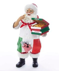 This Pizza Santa from Kurt Adler is a fun addition to any holiday decor. Perfect for pizza lovers, this piece features Santa Claus wearing a white chef's coat, red bandana around his neck, an Italian flag apron, and his classic red and white hat. Nutcracker Christmas, Christmas Store, Father Christmas, Christmas Ideas, Pizza Baker, Green Pizza, Santa Figurines, Kids Party Supplies, Red Bandana