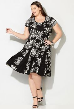 Contrast Floral Seamed Fit and Flare Dress,