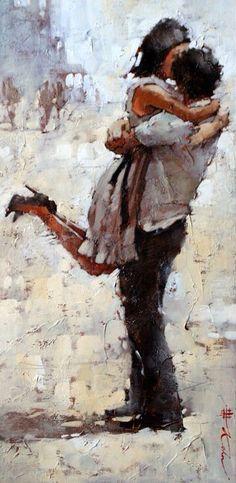 Andre Kohn, Vero Amore, oil, 22 x Illustration Art, Illustrations, Art Abstrait, Couple Art, Beautiful Paintings, Love Art, Painting & Drawing, Art Photography, Street Art