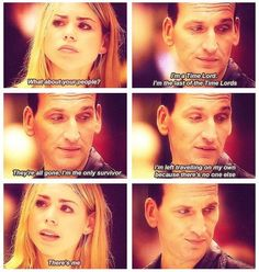 This is one of the most powerful scenes I think in all of Doctor Who. The Doctor really opened his heart(s). Ninth Doctor, Bbc Doctor Who, First Doctor, Benedict Cumberbatch, Fandoms, Rose And The Doctor, Never Be Alone, Doctor Who Quotes, And So It Begins