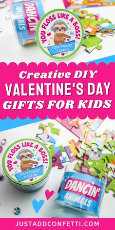 Looking for cute and funny kids valentines for school and Valentine's Day classroom parties? I've got you covered with this dancing sloth valentine card! These DIY valentines are so easy to assemble. The printable valentine is available in my Etsy shop. Just pair it with this puzzle or any dancing or music related item for an adorable non-candy, non-food valentine gift! Be sure to head to justaddconfetti.com for even more cute and simple kids valentines ideas.