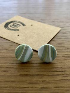 Brand new range of handmade jewellery at 99 Farm Gift Shop Handmade Jewellery, Unique Jewelry, Handmade Gifts, Green Marble, Girls Jewelry, Handmade Polymer Clay, Etsy Seller, Range, Stud Earrings