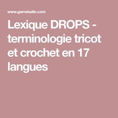 Lexique DROPS - terminologie tricot et crochet en 17 langues