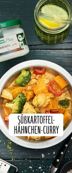 Sweet potato chicken curry-Süßkartoffel-Hähnchen-Curry A curry is ideal when it has to be quick! Our REWE recipe for sweet potato and chicken curry also tastes wonderfully spicy: soul food alarm! Crock Pot Recipes, Keto Crockpot Recipes, Casserole Recipes, Chicken Recipes, Oven Recipes, Best Banana Bread, Sweet Potato Recipes, Southern Recipes, The Best