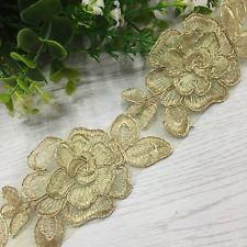 Gold Embroidered Flower Lace Motif Patch Trim Bridal Applique Sewing DIY