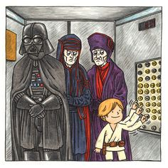 Making Darth Vader a Dad: Jeffrey Brown on His All-Ages Star Wars Books Exclusive Print Reveal! - Star Wars Family - Ideas of Star Wars Family - Making Darth Vader a Dad: Jeffrey Brown on His All-Ages Star Wars Books Exclusive Print Reveal! Star Wars Cartoon, Star Wars Jokes, Star Wars Comics, Vader Star Wars, Darth Vader, Star Wars Crafts, Star Wars Costumes, Star Wars Fan Art, Star Wars Poster