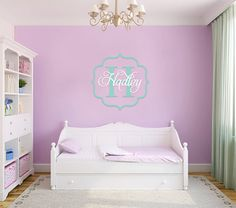 Vintage Frame Decal, Nursery Wall Decal, Monogram, Frame & Name Decals, Girls Room Decor, Nursery Decor, Birds Decal, Hadley