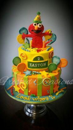 Elmo Sesame Street 2nd Birthday cake Buttercream with fondant decor, airbrushed cake