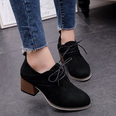 Women Flocking Chunky Heel Loafers Casual Comfort Lace Up Shoes – NORACORA Source by lydiahinckley Outfits with heels Heeled Loafers, Pumps Heels, Stiletto Heels, Women's Loafers, Outfit Trends, Lace Up Heels, Chunky Heels, Cute Shoes, Casual Shoes