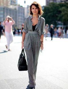Miroslava Duma in monochrome checkered #print rolled sleeves pants ensemble | #Fashion Week Street Style