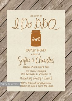 Couples or Coed Wedding Shower Invitation-Rustic, I Do BBQ, Mason Jar, Bridal, Engagement, Printable by LeeandLoe on Etsy
