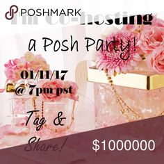 Hosting my first Posh Party!  I'm co-hosting my first Posh Party!  I can't wait to look in your beautiful closets for some fabulous host picks. Party Date 01/11/2017 @ 7pm PST Other