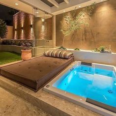 [New] The Best Home Decor (with Pictures) These are the 10 best home decor today. According to home decor experts, the 10 all-time best home decor. Hot Tub Backyard, Small Backyard Pools, Indoor Swimming Pools, Swimming Pool Designs, Backyard Patio, Terrace Design, Patio Design, Exterior Design, House Design