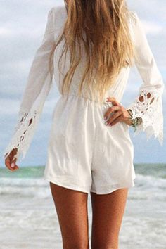 Long Sleeve Lace Spliced White Playsuit
