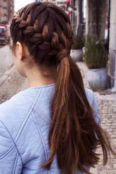 French Braided Ponytail For Your Long Hair braids ponytail Braidedforshorthair 587086501406389562 Half Braided Hairstyles, Long Face Hairstyles, Box Braids Hairstyles, Pretty Hairstyles, Straight Hairstyles, Teenage Hairstyles, Hairstyles 2016, Style Hairstyle, Wedding Hairstyles
