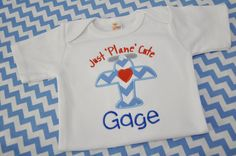 Just Plane Cute Applique Kids Short Sleeve Shirt - Infant/Toddler/Kids Clothes - Embroidery - Airplane - Boy Applique
