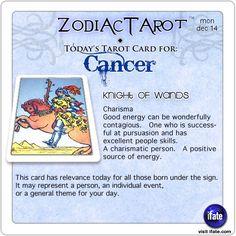 Zodiac Tarot for December 14: Cancer <br>  http://ifate.com