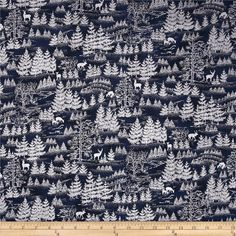 Yuki Metallic Forest Silhouette Navy/Silver from @fabricdotcom  From Hoffman California International Fabrics, this cotton print is perfect for quilting, apparel and home decor accents. Colors include navy with silver metallic accents.