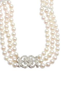 14K White Gold 5.6mm Cultured Pearl Triple Row & Diamond Divider Necklace by One-of-a-Kind: Estate Jewelry on @HauteLook