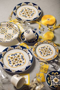 Louças da coleção Floreal São Luís, com desenhos inspirados pelos azulejos da capital maranhense.