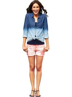 Outfits We Love | Old Navy - Dip-Dye Chambray ombre shirt and The Diva Tie-Dye Shorts