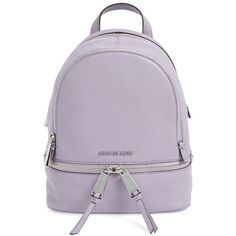 MICHAEL Michael Kors 'Extra Small Rhea' Leather Backpack ($155) ❤ liked on Polyvore featuring bags, backpacks, leather daypack, purple bag, handle bag, purple backpack and real leather backpack