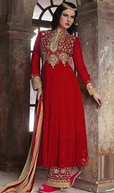 Red Color Embroidered Georgette Anarkali Palazzo Suit  #anarkalishoppinginmumbai #anarkalisuitsinusa Enshroud yourself in a plethora of eternal euphoria with this red color embroidered georgette Anarkali palazzo suit. The mirror, lace and resham work looks chic and perfect for any get together.   USD $ 72 (Around £ 50 & Euro 55)