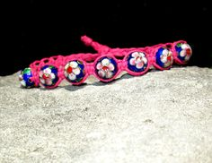 Cloisonne Jewelry  Cloisonne Bracelet  Pink and Blue