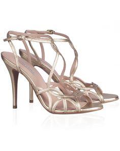 Sandalias de tacón alto en piel metalizada dorada