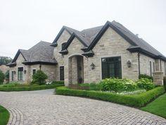 Black Aluminum Soffit, Fascia and Trough supplied by Craftsman Exterior, Craftsman House Plans, Exterior Homes, Home Design Floor Plans, Dream Home Design, Dream House Exterior, Exterior House Colors, Light Blue Houses, Narrow House Designs