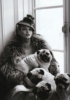 """The Duchess"": Linda Evangelista and Pugs by Steven Meisel for Vogue Italia Linda Evangelista, Amor Pug, Pekinese, Fu Dog, Pugs And Kisses, Steven Meisel, Cute Pugs, Pug Love, Pet Shop"