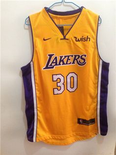 46277fd0f Nike Lakers  30 LICHI Yellow 17-18 Stitched NBA Jersey