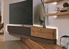 LOWBOARD in Braun, Eichenfarben - Lowboards - Oberschränke - Wohnzimmer - Produkte - Wohnzimmer - Modèles d'étagères murales Living Tv, Living Room Tv Unit, Home Living Room, Living Room Designs, Living Room Decor, Corner Media Cabinet, Corner Tv Cabinets, Corner Tv Unit, Tv Unit Bedroom