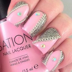 Big pink nail designs for women Nageldesign & Nailart Fabulous Nails, Gorgeous Nails, Love Nails, How To Do Nails, Pretty Nails, Pink Nail Art, Cute Nail Art, Pink Nails, Silver Nails