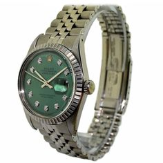 Vintage Rolex Datejust stainless steel wrist watch, circa This Swiss wrist watch has perpetual 26 jewel movement with replacement green diamond. Antique Watches, Vintage Watches, Wrist Watches, Rolex Watches, Green Diamond, Vintage Rolex, Rolex Datejust, Stainless Steel, Jewels