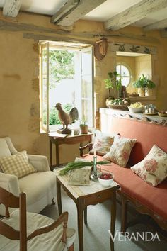 Restored farmhouse in France ~ A Régence canapé is revitalized with red linen upholstery. French Country Cottage, French Country Style, French Farmhouse, Country Living, Rustic French, French Decor, French Country Decorating, Restored Farmhouse, Decorating Small Spaces