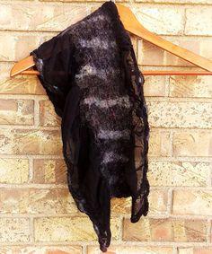 Handmade Silk and Wool Scarf / Shawlette Nuno Felted Black