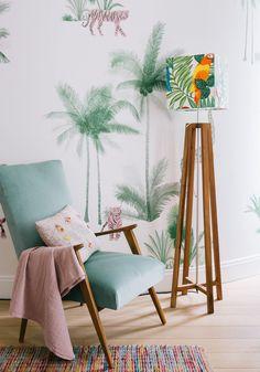 Morgane Sezalory's Paris Apartment - the lamp, the wallpaper!