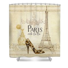 Paris - Ooh la la Fashion Eiffel Tower Chandelier Perfume Bottle Printed Fabric Shower Curtain by Audrey Jeanne Roberts   The largest potential art space in most homes is the bathroom shower curtain.  Now you can use it to its full potential.  #paris #parisian #french #eiffeltower #highheels #fashionista #fashion #chic #romantic #french #trending #trendy #vintage #chandelier $79